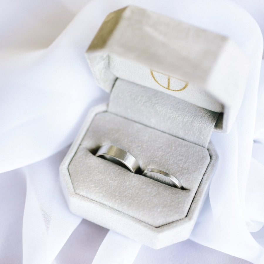 Handcrafted Brushed Metal Wedding Ring Set
