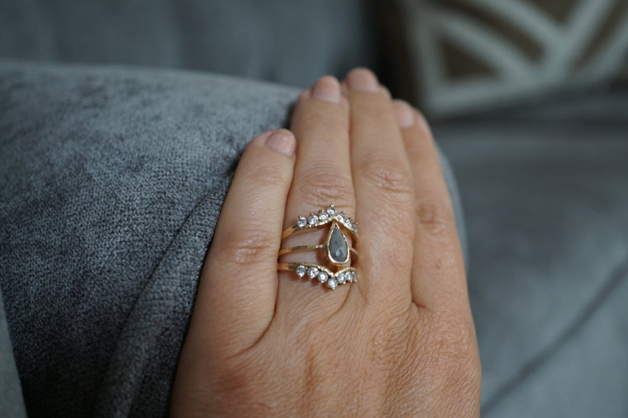 Amira | Gray Pear Diamond & White Diamond Stacking Engagement Ring Set - Melissa Tyson Designs