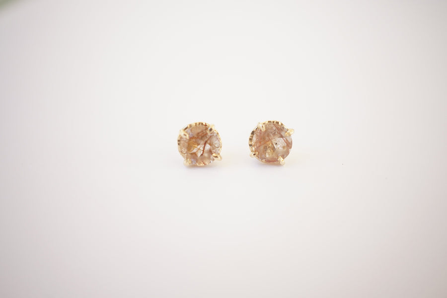 Copper Rutilated Quartz Studs - Melissa Tyson Designs