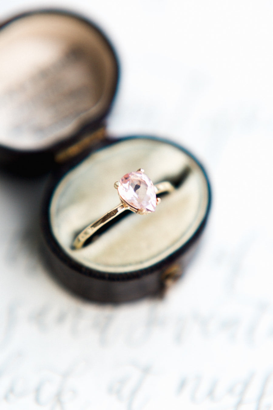 Pink Pear Morganite Hammered 14k Recycled Gold Engagement Ring