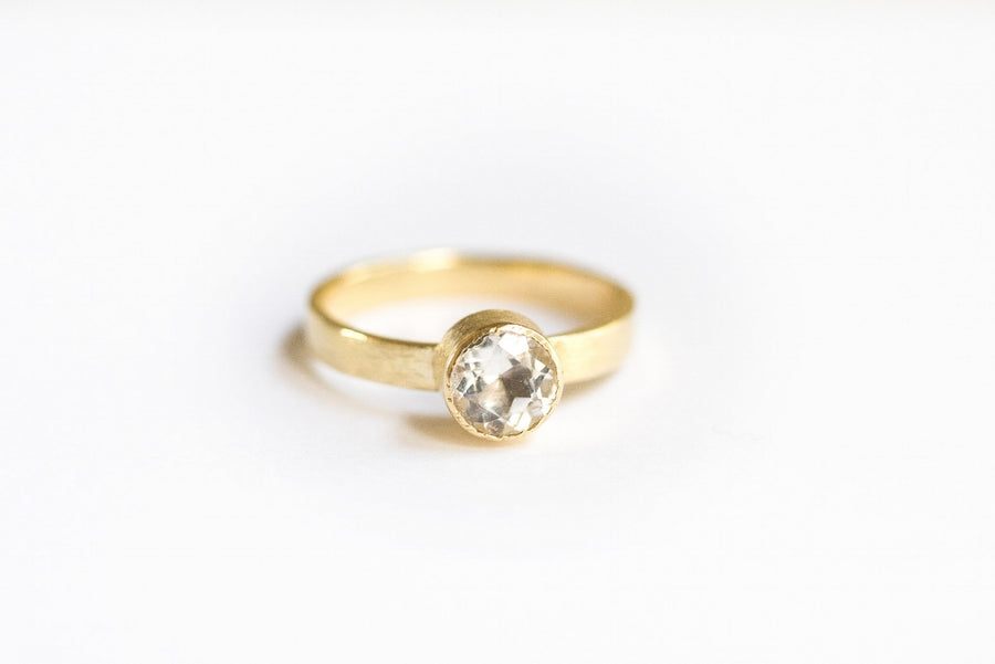 Brushed 18k Gold Engagement Ring Wide Band