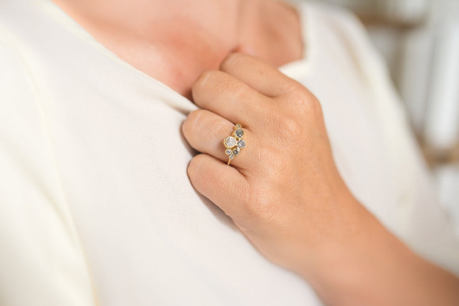 Constellation | Gray & White Diamond Cluster Engagement Ring - Melissa Tyson Designs