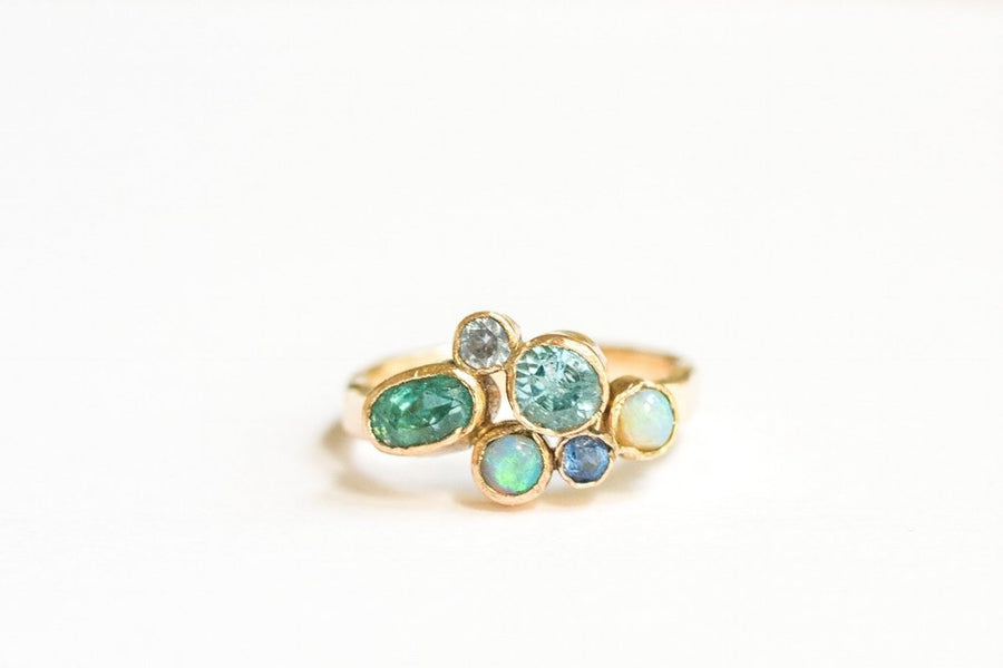 Blue Cluster Engagement Ring 14k Hammered Gold