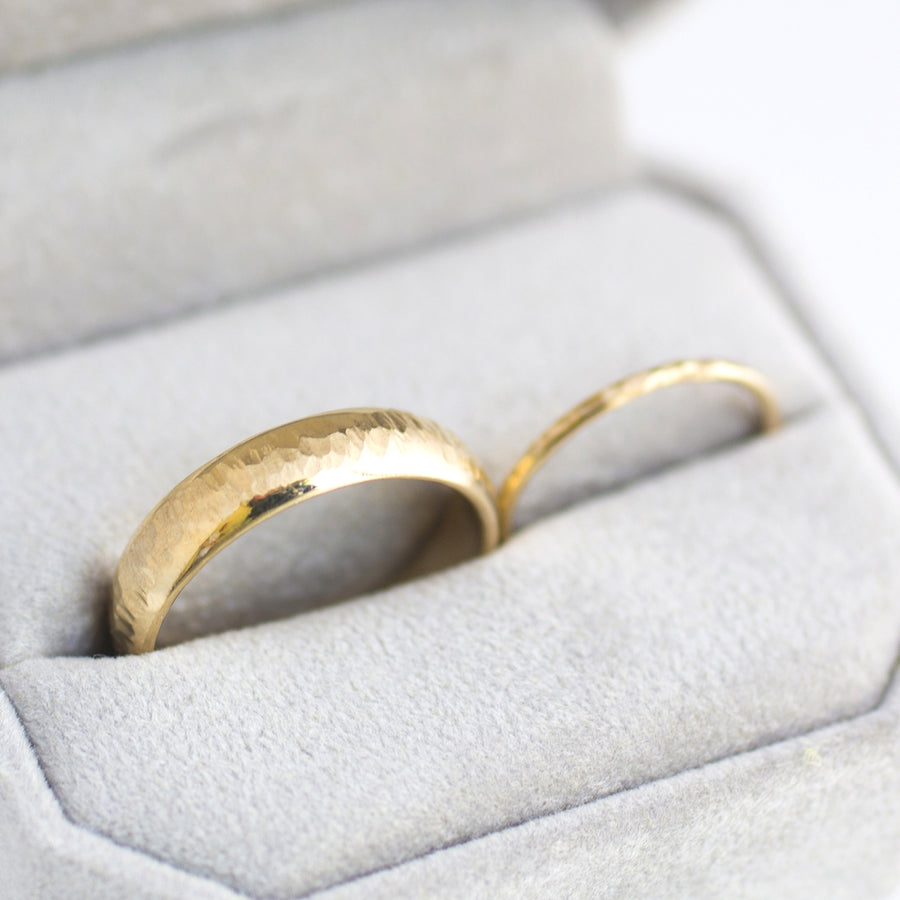 His and Her's Textured Gold Wedding Band Set