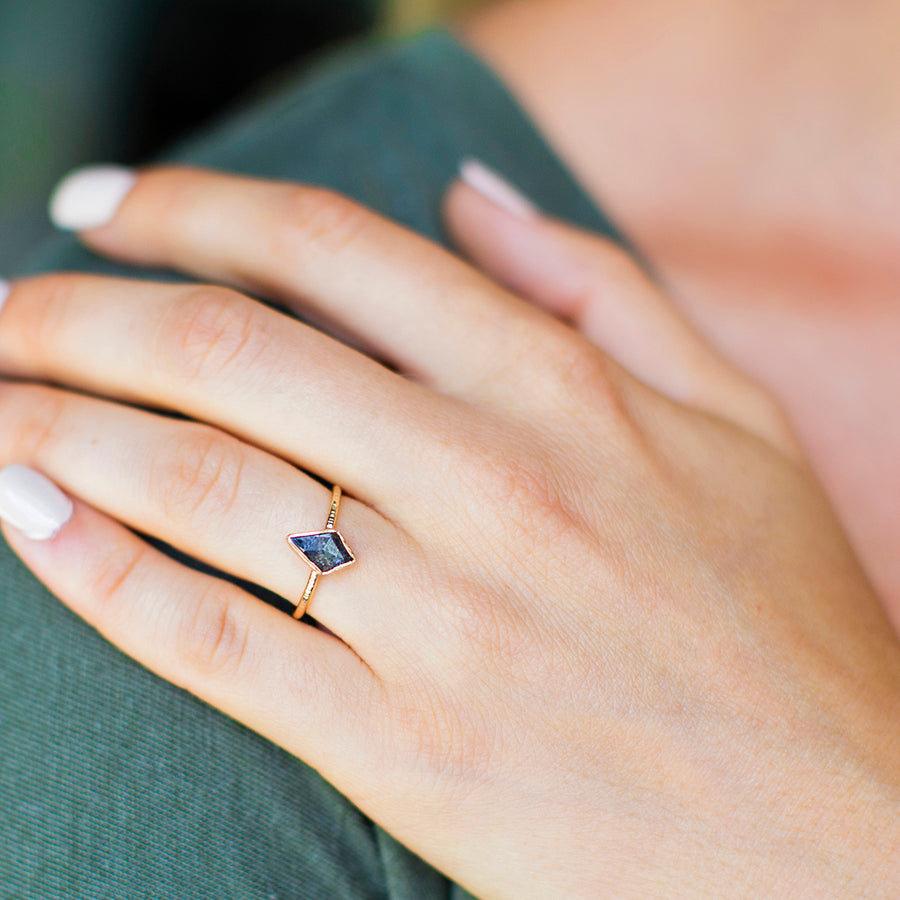 Kite-Shaped Gray Diamond Engagement Ring