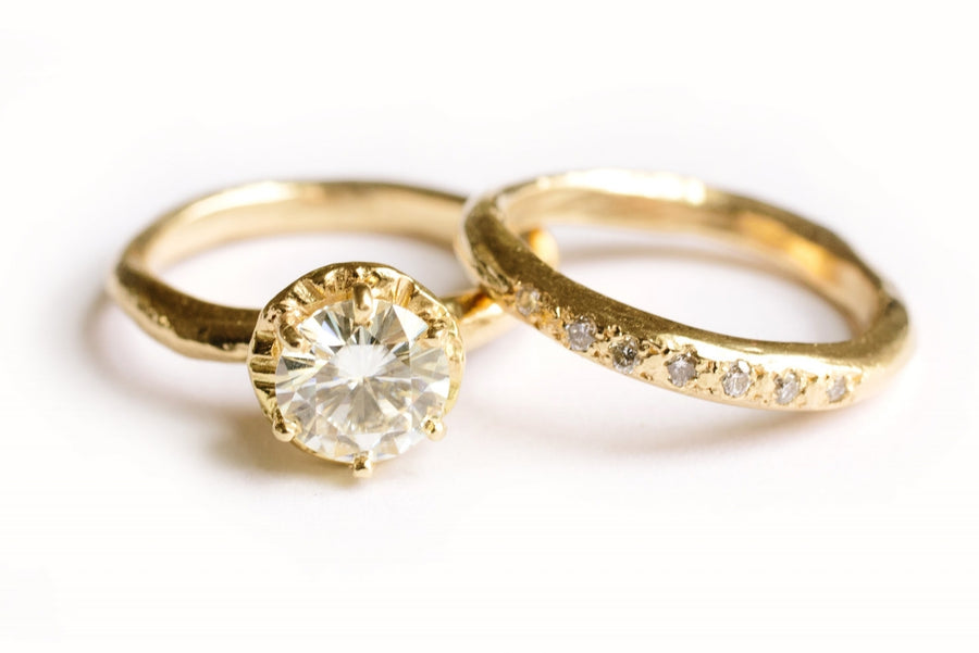 Leo | Moissanite Hammered Gold Engagement Ring Set - Melissa Tyson Designs