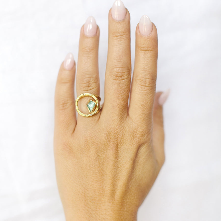 Raw Green Circle Ring
