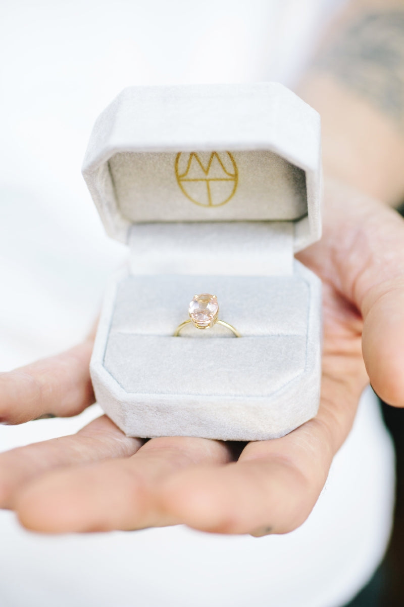 Amanda | Oval Morganite 14k Gold Thin Engagement Ring - Melissa Tyson Designs