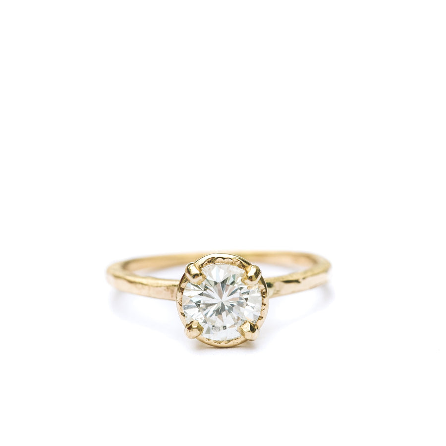 Sunshine | Diamond Hammered Halo Engagement Ring