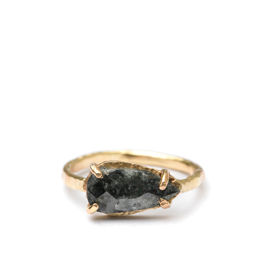 Night Sky | East West Pear Gray Diamond Engagement Ring Hammered Band