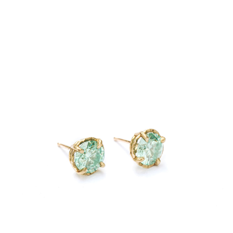 Seafoam | Green Moissanite Stud Earrings 14k Yellow Gold Hammered Halo Setting