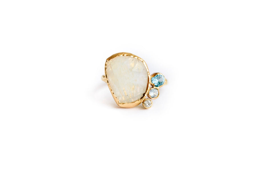 Reflecting Pool Moonstone| Organic Blue Gemstone Engagement Ring - Melissa Tyson Designs