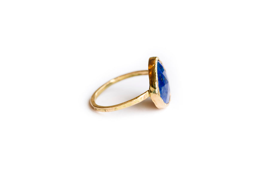 Rose Cut Lapis Lazuli Hammered 14k Gold Engagement Ring