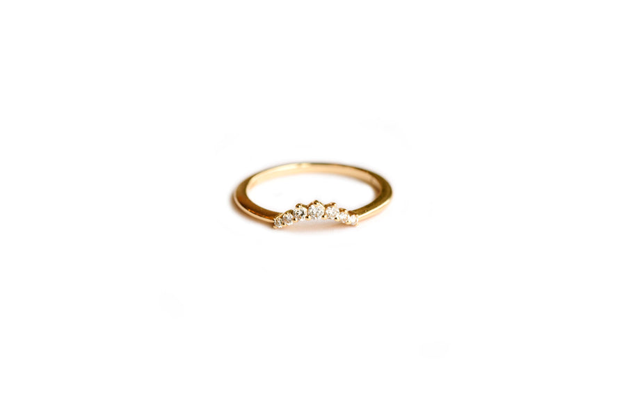 Curved Diamond and Recycled Gold Wedding Band