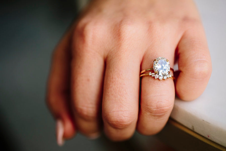Seline Moissanite Engagement Ring and Diamond Wedding Band - Melissa Tyson Designs