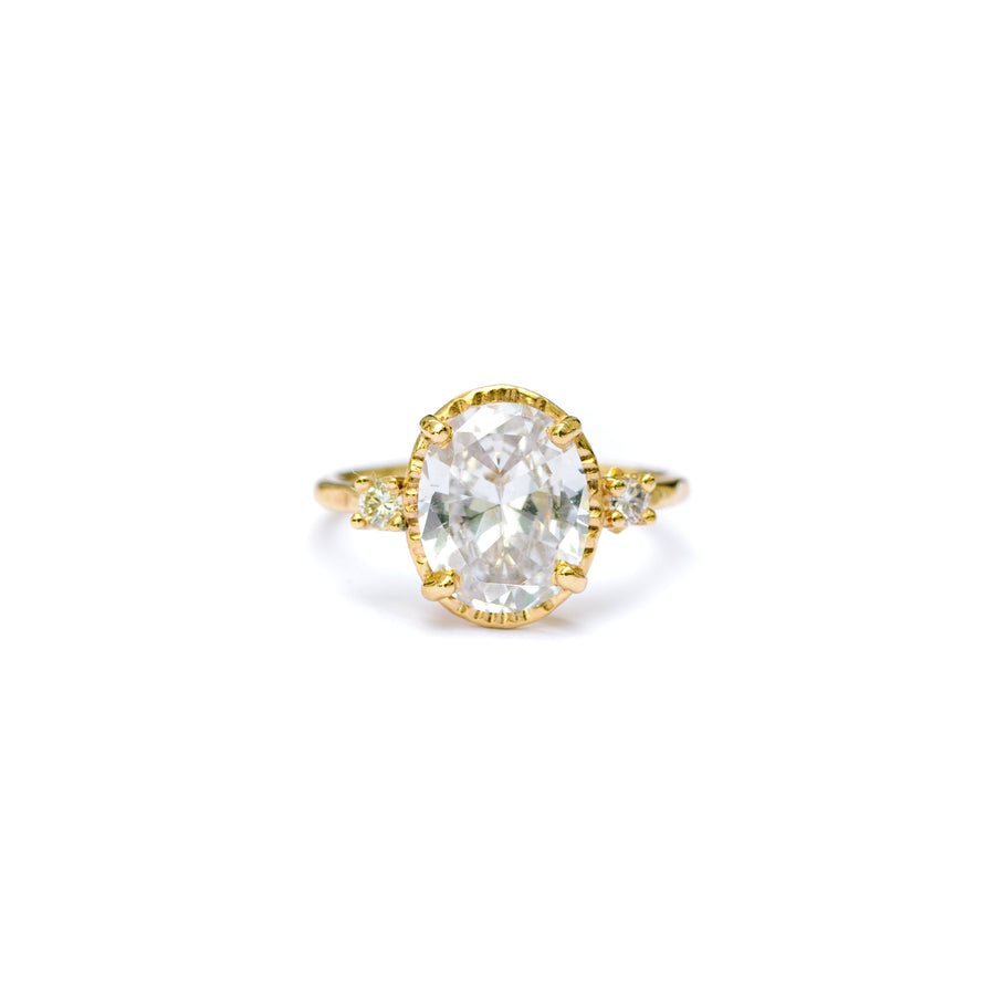 Three Stone Moissanite Engagement Ring with a 14k Recycled Gold Hammered Halo