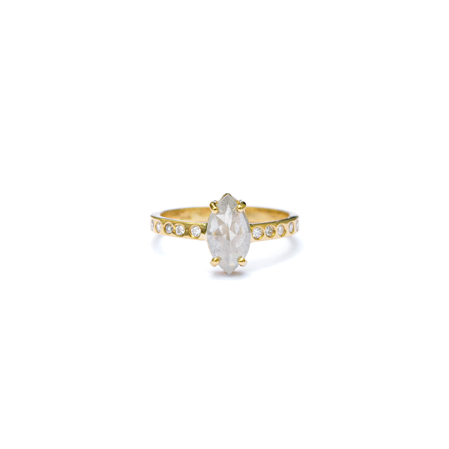 Salt and Pepper Diamond Marquise with a Diamond Hammered Band Engagement Ring
