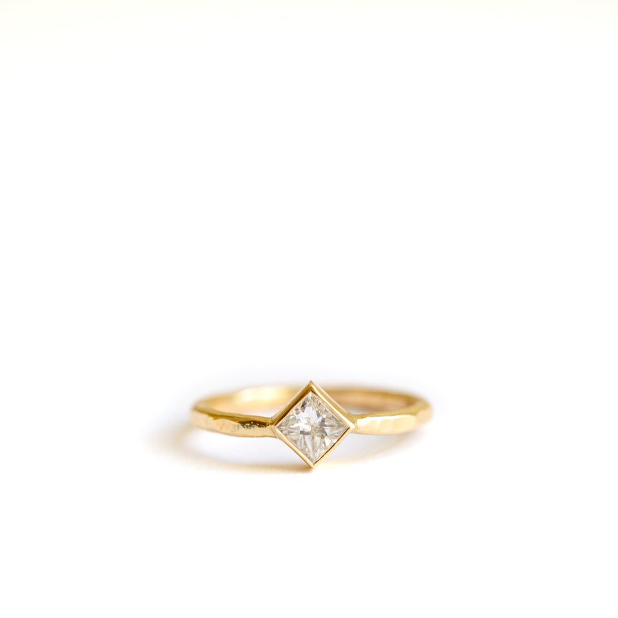 Diamond-Shaped Diamond Engagement Ring Hammered 14k Gold - Melissa Tyson Designs