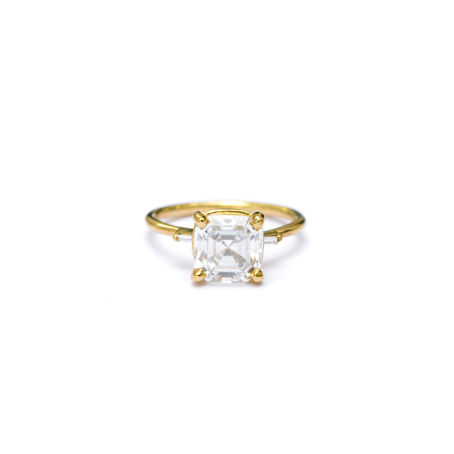 Asscher Cut Moissanite Engagement Ring with Diamond Baguettes