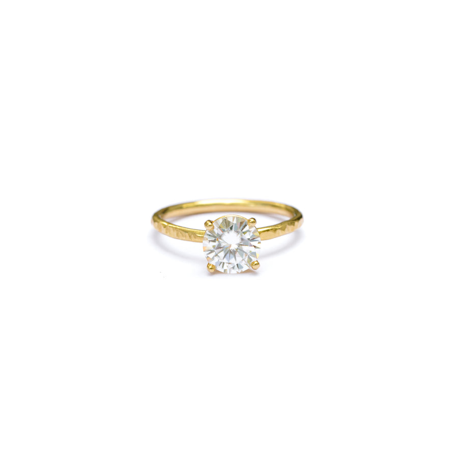Round Moissanite Solitaire Engagement Ring with Hammered 14k Thin Gold Band