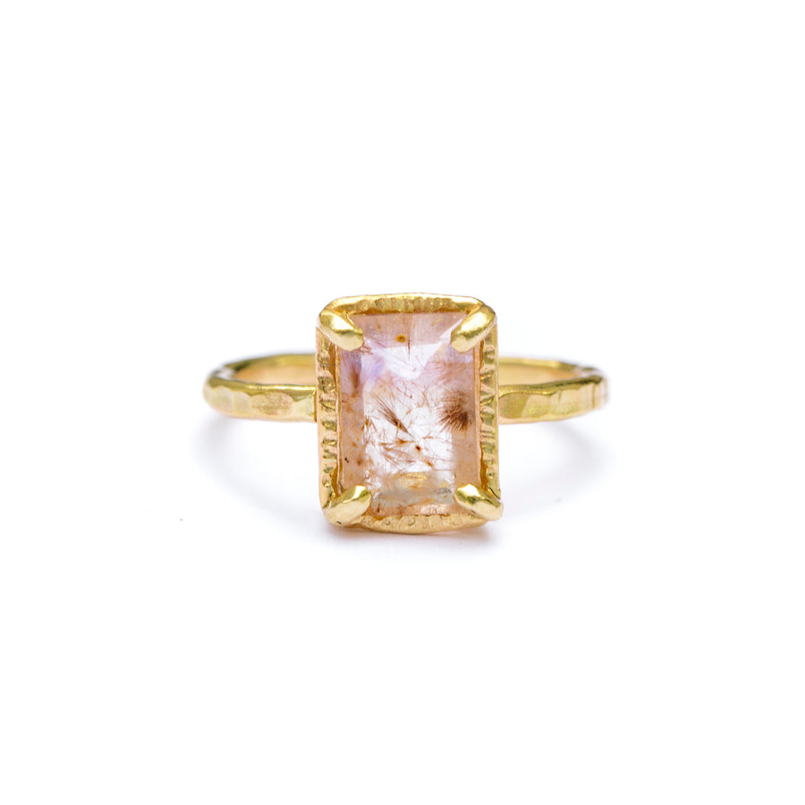 Emerald Cut Rutilated Quartz Engagement Ring