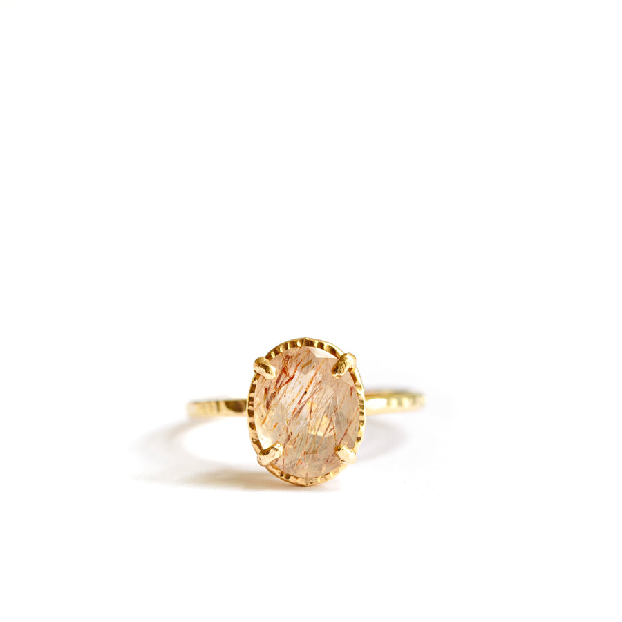 Halo Wisp Rose Rutilated Quartz | Oval Rutilated Quartz Engagement Ring Hammered Gold - Melissa Tyson Designs