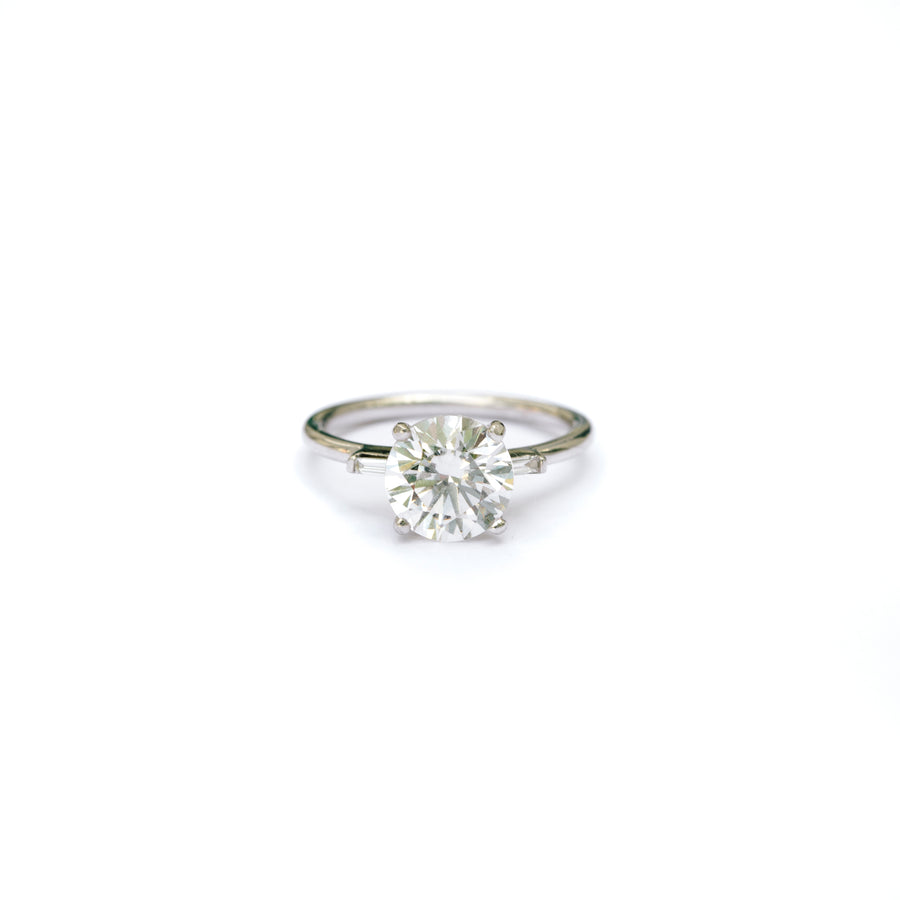 2ct Moissanite Engagement Ring with Diamond Baguettes in Natural 14k White Gold