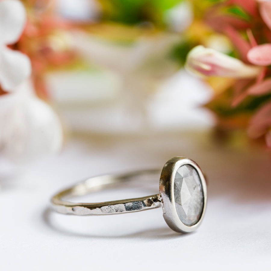 Salt and Pepper Oval Engagement Ring in Natural 14k Hammered White Gold - Melissa Tyson Designs