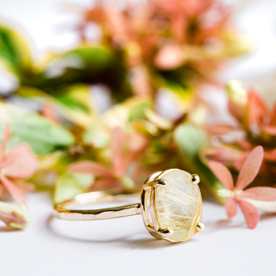 Oval Rutilated Quartz Engagement Ring with Hammered Gold Band