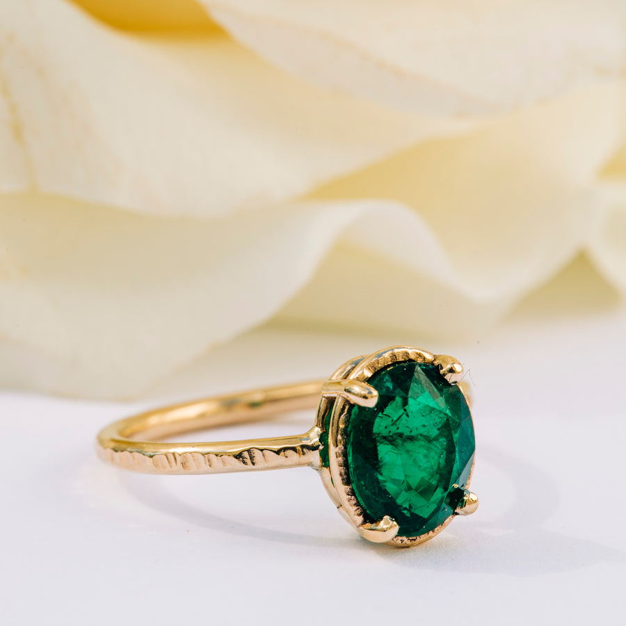 1.89ct Emerald Oval Engagement Ring - Melissa Tyson Designs
