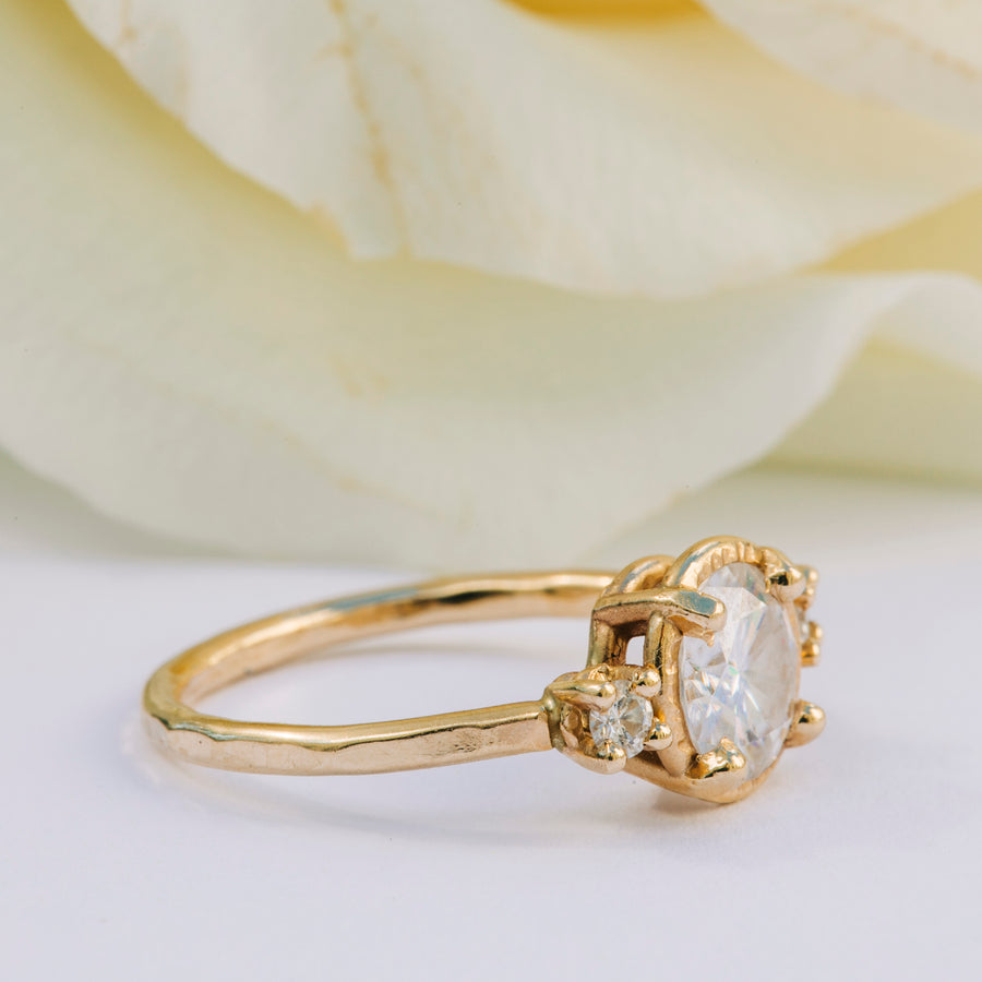 Megan Three Stone Moissanite in Round - Melissa Tyson Designs