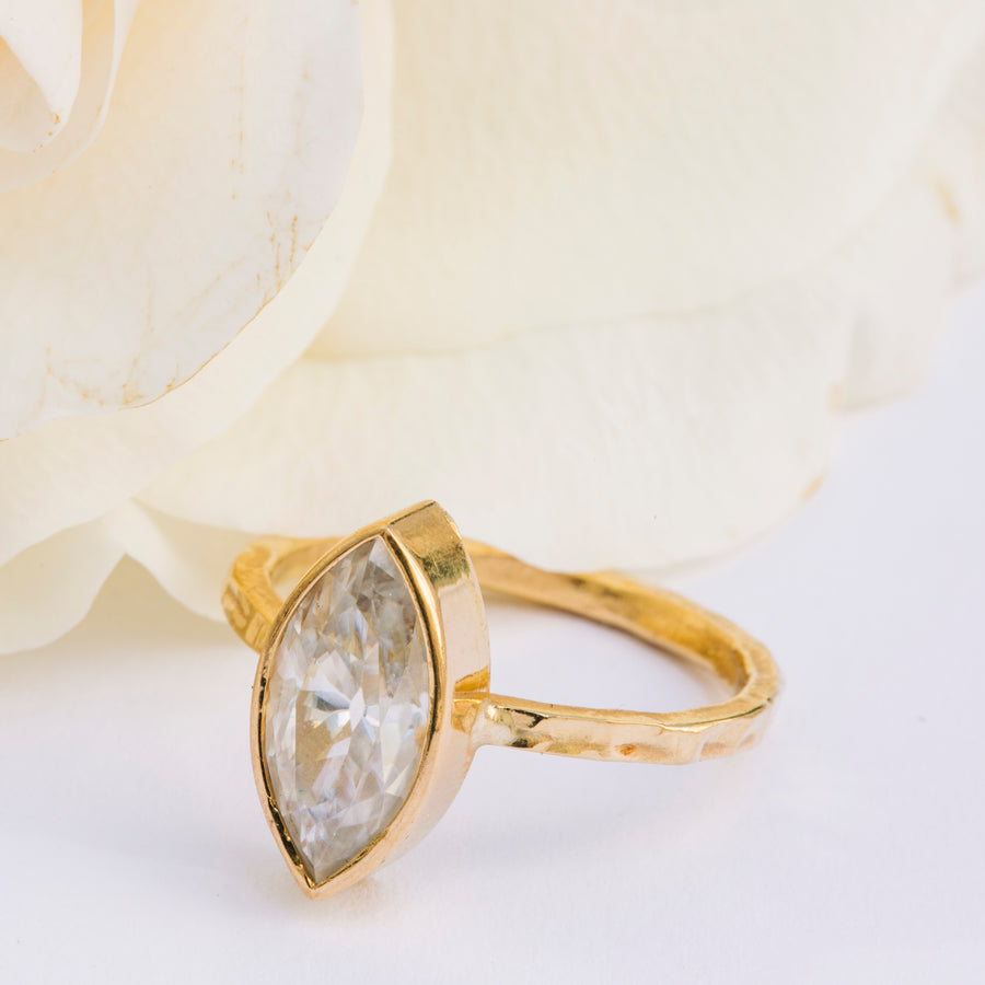 Marquise Hammered Engagement Ring - Melissa Tyson Designs