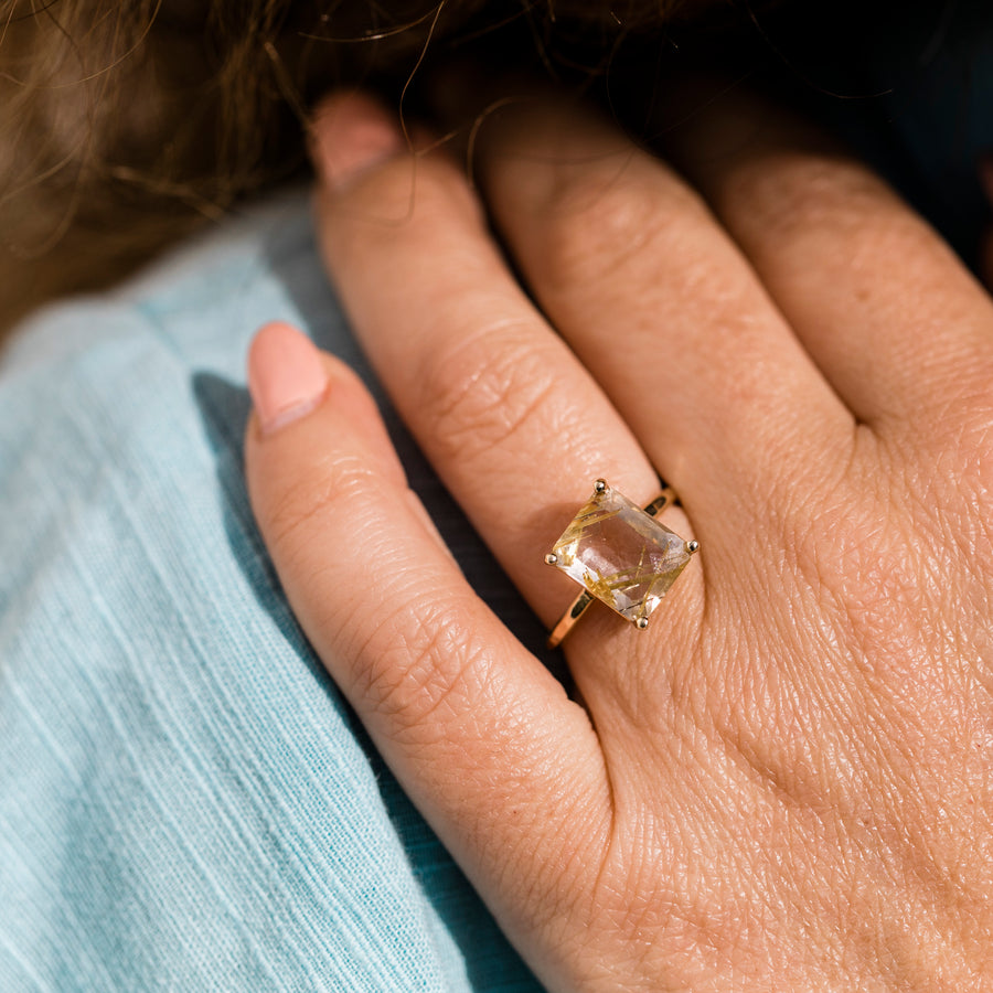 Golden Rutilated Quartz Ring - Melissa Tyson Designs