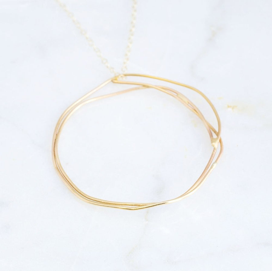 Organic, lightweight, free-formed golden pendant Necklace