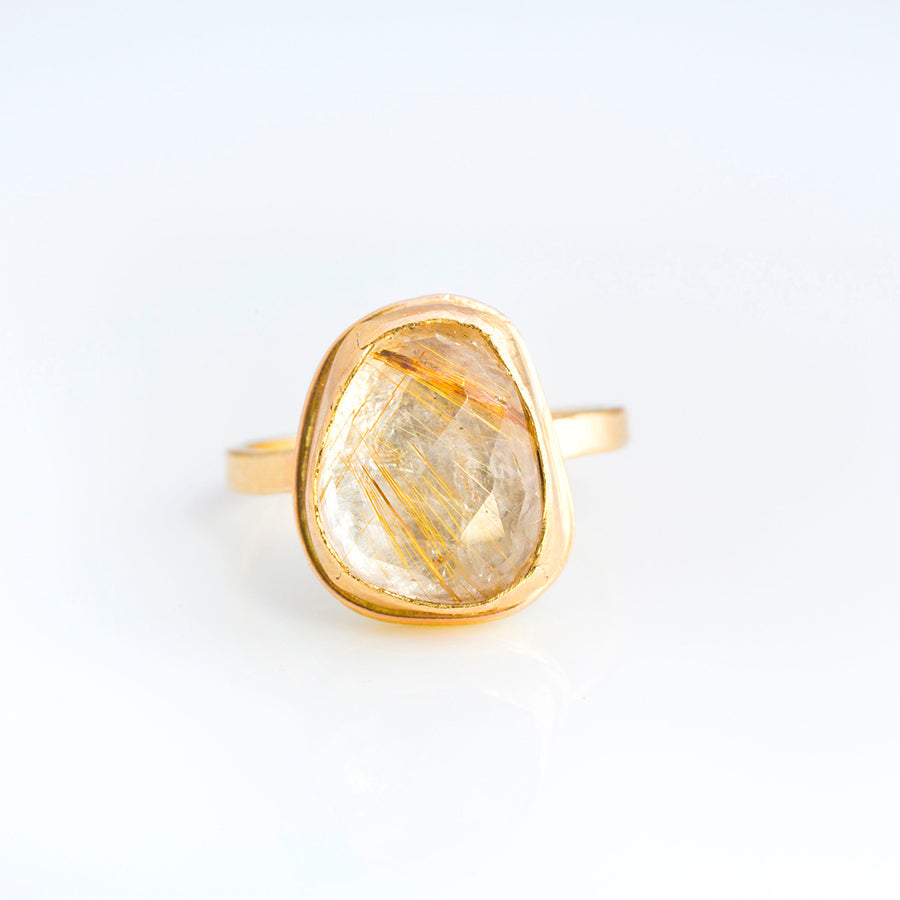 Rudilated Quartz Engagement Ring