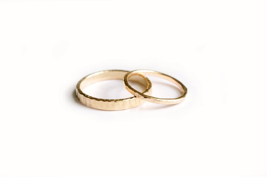 Simple, Hand-Hammered Gold Wedding Band Set