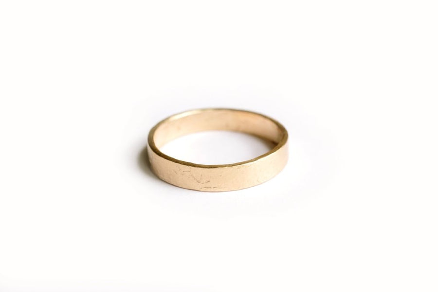 Simple Hand-Hammered Mens Gold Wedding Band