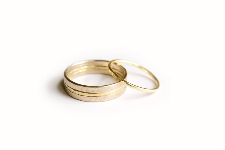 Modern Gold Wedding Band Set