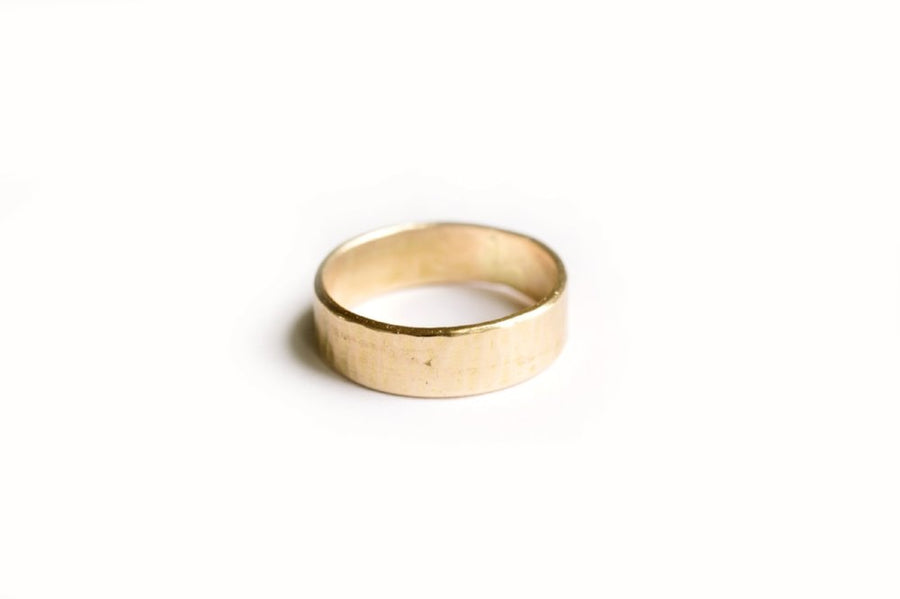 Hand-Hammered Men's Gold Wedding Band