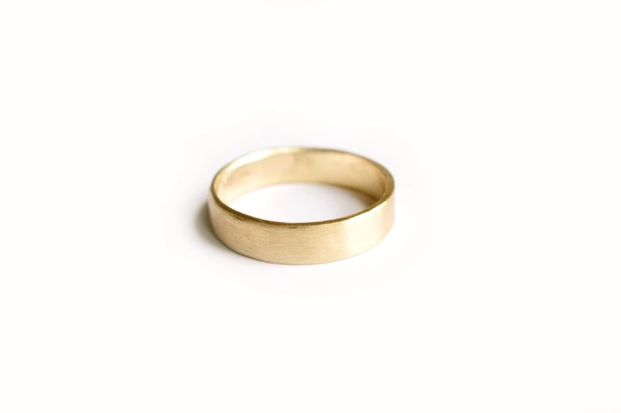 Brushed Yellow Gold Men's Wedding Band
