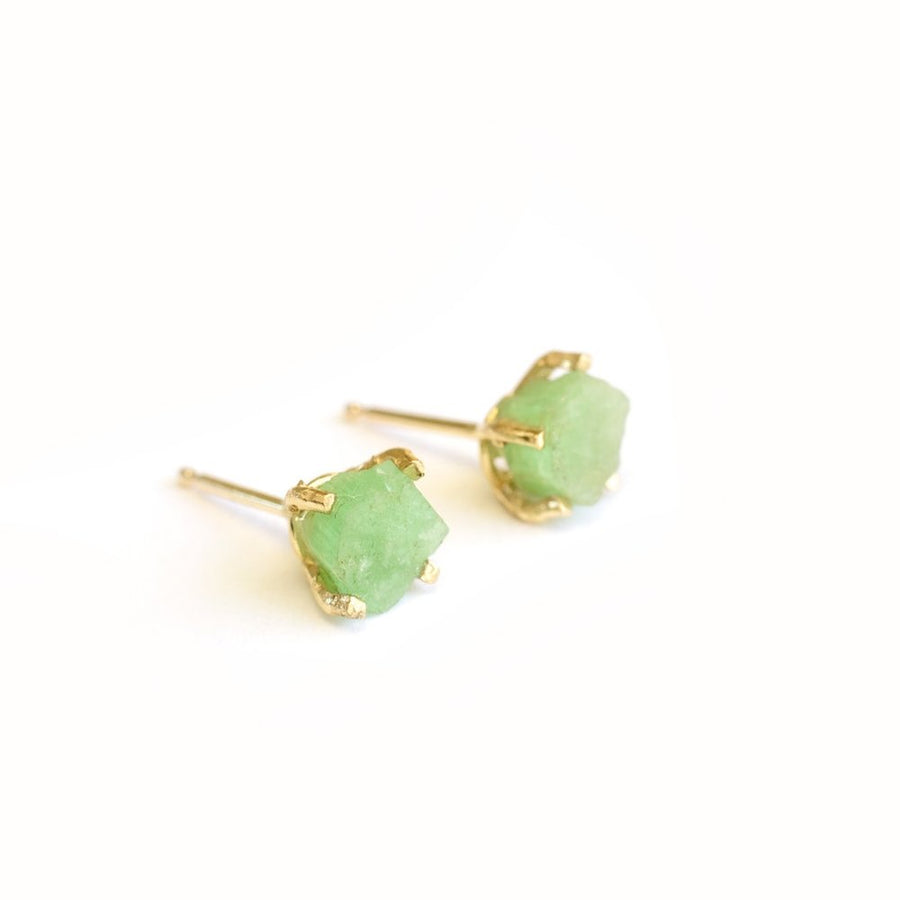 Raw Emerald Stud Earrings
