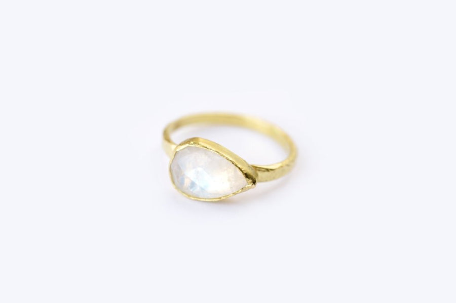 Pear-Shaped Moonstone Gemstone Ring with a Rustic Hammered Bezel Setting
