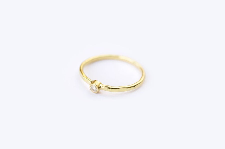 Diamond Stacking Ring with Hammered Band