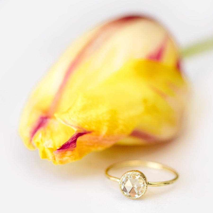 Celia | Round Rose Cut Moissanite Engagement Ring in Hammered 18k Gold - Melissa Tyson Designs