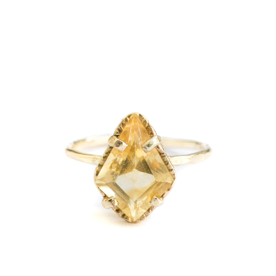 Yellow Kite | Citrine Kite Cut Hammered Halo Ring