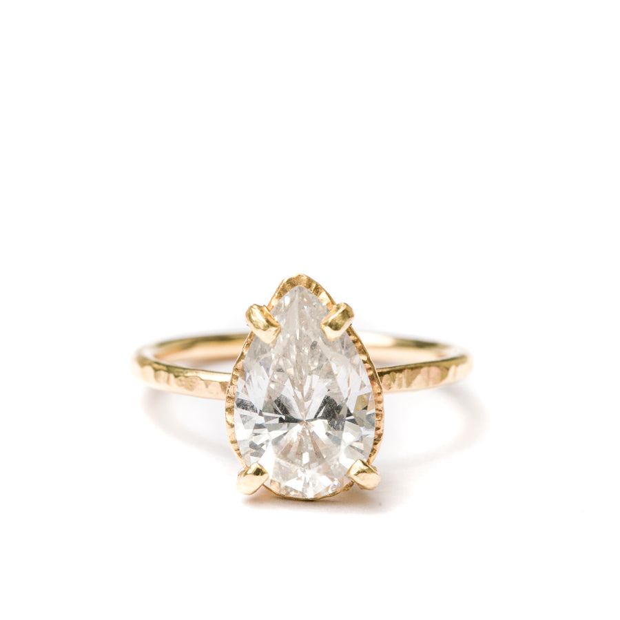Summer Rain | Pear Moissanite Hammered Halo Engagement Ring