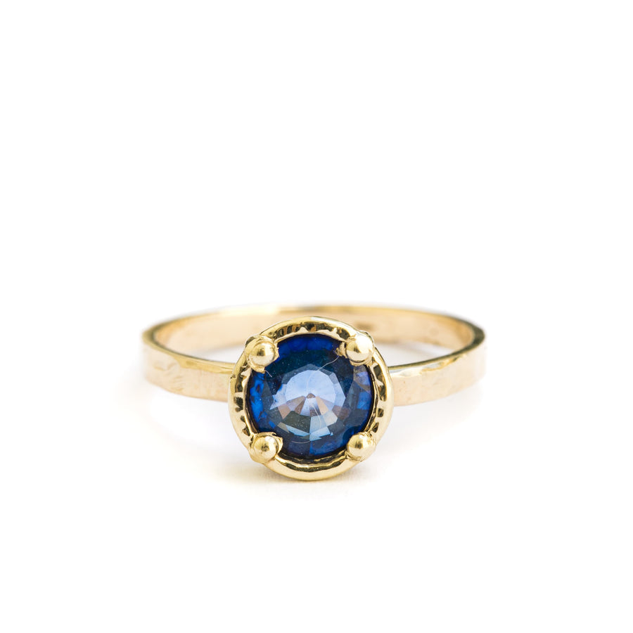 Deep Pools | Thai Blue Sapphire Engagement Ring Hammered Band