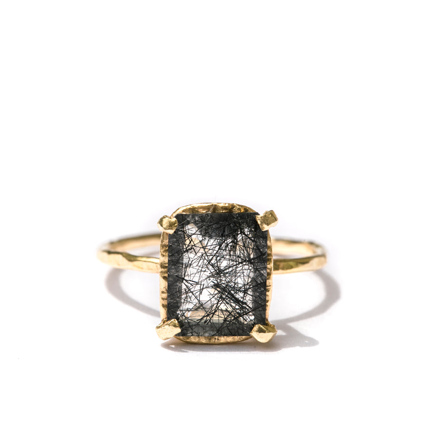 Nightshade Hammered Halo | Black Tourmalated Quartz Ring Hammered Gold