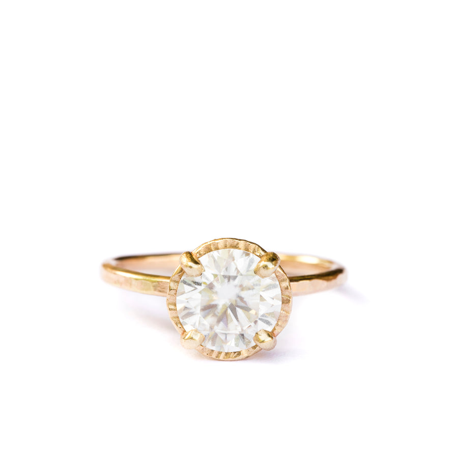 Shine Bright | 2ct Round Moissanite Engagement Ring Hammered Halo 14k Yellow Gold