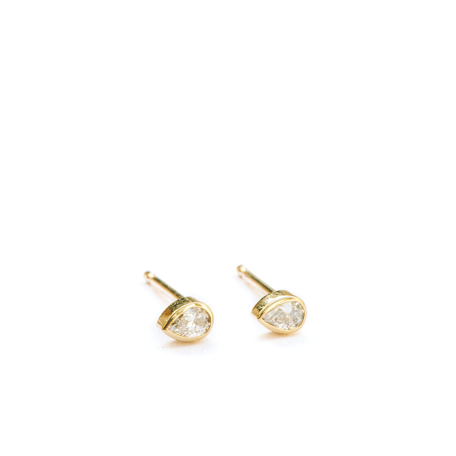 Tiny Pear Diamond Studs